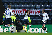 Preston North End midfielder Daniel Johnson (11) scores a goal 1-0  and celebrates during the EFL Sky Bet Championship match between Preston North End and Stoke City at Deepdale, Preston, England on 21 August 2019.