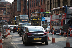 © Licensed to London News Pictures . 22/08/2015 . Manchester , UK . Traffic and buses diverted along Portland Street in Manchester City Centre as police close off Princess Street to investigate the scene of a  fatal RTA on Princess Street in central Manchester . Yesterday (22nd August 2015) a 26 year old motorcyclist died after hitting a wall , after losing control of his Yamaha R6 . Photo credit : Joel Goodman/LNP