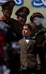KABUL,AFGHANISTAN - SEPT. 9: Ahmad Massoud, the son of the slain leader Ahmad Shah Massoud  prepares to meet dignitaries, soldiers and guests during a ceremony in Kabul Sports Stadium September 9, 2002  to comemerate the one-year anniversary of the death of his father.   (Photo by Ami Vitale/Getty Images)