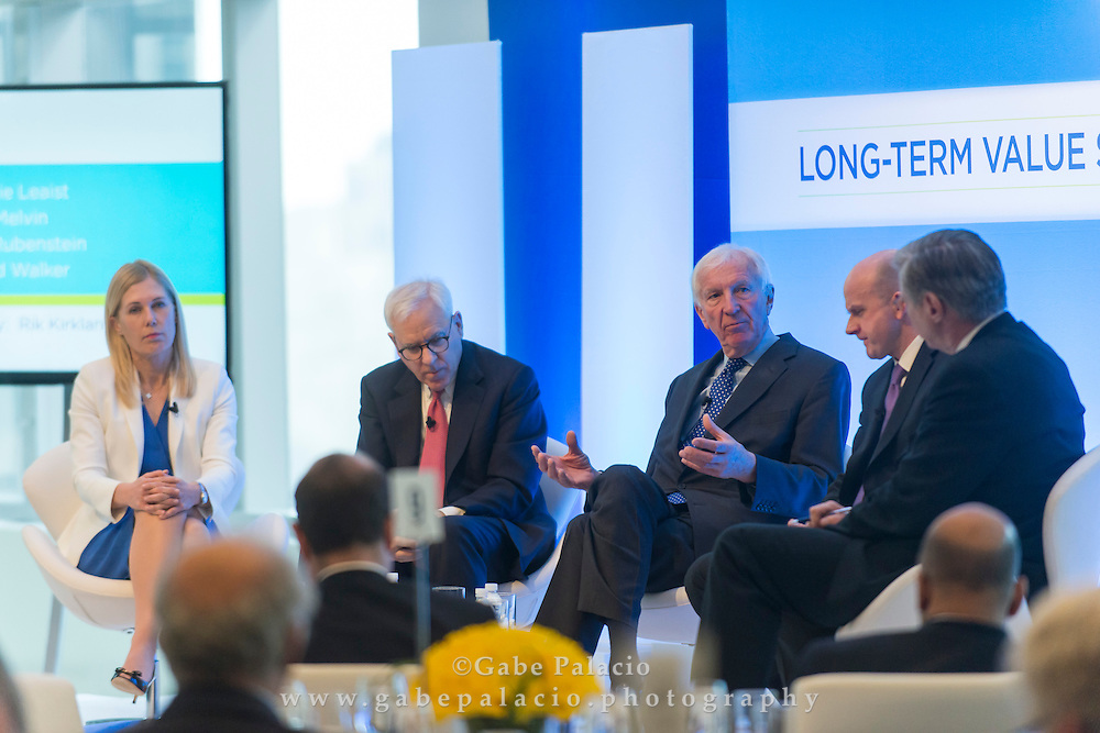 Stephanie Leaist, Managing Director, Head of Sustainable Investing, Public Market Investments, CPPIB, Colin Melvin, Chief Executive Officer, Hermes Equity Ownership Services, David M. Rubenstein, Co-founder and Co-CEO, The Carlyle Group, Sir David Walker, Chairman, Barclays, and Rik Kirkland, Partner & Director of Publishing, McKinsey & Company, in discussion at the Long Term Value Summit in New York on March 10, 2015.