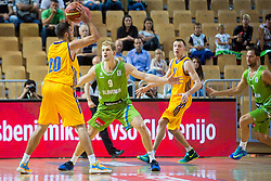 Jaka Blazic of Slovenia vs Pavlo Krutous of Ukraine during friendly basketball match between National teams of Slovenia and Ukraineat day 1 of Adecco Cup 2015, on August 21 in Koper, Slovenia. Photo by Grega Valancic / Sportida