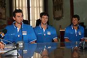 ROMA 29 AGOSTO 2007<br /> BASKET<br /> NAZIONALE ITALIANA UOMINI<br /> CONFERENZA STAMPA IN CAMPIDOGLIO DI PRESENTAZIONE DI ITALIA-GRECIA<br /> NELLA FOTO BARGNANI GIGLI BELINELLI<br /> FOTO CIAMILLO-CASTORIA