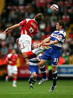 Photo: Tom Dulat.<br /> <br /> Charlton Athletic v Queens Park Rangers. Coca Cola Championship. 27/10/2007.<br /> <br /> Martin Cranie of Queens Park Rangers and Luke Varney of Charlton Athletic head for the ball.