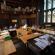 "Pupils attend a classics class at Rugby School in central England, March 18, 2015.  The public school, founded in 1567 was amongst the first ""Public"" schools in England. The school is known as the home of rugby. Local legend  states that in 1823 pupil William Webb Ellis first ran with the ball inventing the game of rugby football which took its name from the school. In 2015 20 countries will compete in the Rugby World Cup which is hosted by England REUTERS/Neil Hall"