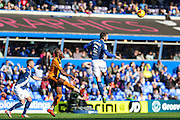 Birmingham City's Jonathan Grounds heads clear during the Sky Bet Championship match between Birmingham City and Wolverhampton Wanderers at St Andrews, Birmingham, England on 31 October 2015. Photo by Shane Healey.
