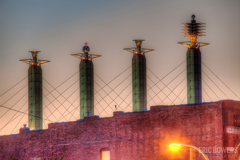 View of Skystation implements on top of Kansas CIty's Bartle Hall Convention Center, seen from near 20th and McGee, Kansas City, Missouri.