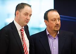 LIVERPOOL, ENGLAND - Tuesday, December 8, 2009: The image of Liverpool's manager Rafael Benitez and press officer Ian Cotton during a press conference at Anfield ahead of the UEFA Champions League Group E match against AFC Fiorentina. (Pic by David Rawcliffe/Propaganda)