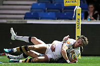 Rugby Union - 2017 / 2018 Aviva Premiership - Sale Sharks vs. Wasps<br /> <br /> Josh Bassett of Wasps scores his sides first try at AJ Bell Stadium.<br /> <br /> COLORSPORT