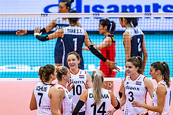 16-10-2018 JPN: World Championship Volleyball Women day 17, Nagoya<br /> Netherlands - China 1-3 / Juliet Lohuis #7 of Netherlands, Maret Balkestein-Grothues #6 of Netherlands, Lonneke Sloetjes #10 of Netherlands, Yvon Belien #3 of Netherlands, Anne Buijs #11 of Netherlands