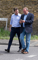 © Licensed to London News Pictures. 04/05/2015. South West London, UK Nick Clegg, Deputy Prime Minister and Leader of the Liberal Democrats campaigns in the UK General Election in South West London today 4th May 2015. Photo credit : Stephen Simpson/LNP