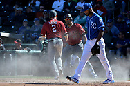 SURPRISE, AZ - MARCH 06:  Jeff Mathis #2 of the Arizona Diamondbacks is congratulated by Yasmany Tomas #24 after scoring in front of Al Alburquerque #62 of the Kansas City Royals the sixth inning in the spring training game at Surprise Stadium on March 6, 2017 in Surprise, Arizona.  (Photo by Jennifer Stewart/Getty Images)