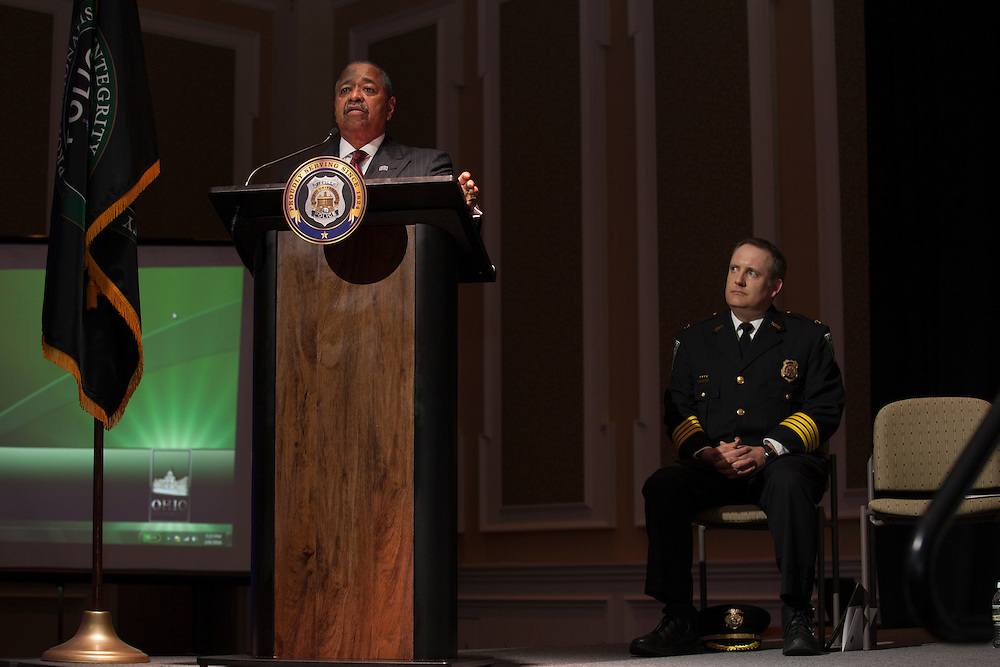 Ohio University President Roderick McDavis speaks at the Badge Pinning and Employee Recognition Ceremony on Monday, February 8, 2016. Photo by Kaitlin Owens