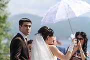 bride and groom at Sevanavank (Sevan Monastery), Lake Sevan peninsula, Armenia