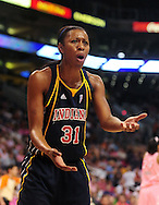 Aug 8, 2010; Phoenix, AZ, USA; Indiana Fever forward Jessica Moore reacts during the first half at US Airways Center.  The Fever defeated the Mercury 104-82.  Mandatory Credit: Jennifer Stewart-US PRESSWIRE