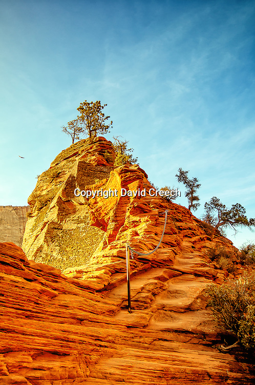 The thin, precarious trail to the top of Angel's Landing along a narrow sandstone fin.