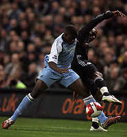 Photo: Paul Thomas.<br /> Manchester City v Chelsea. The Barclays Premiership. 14/03/2007.<br /> <br /> Micah Richards (L) of City pushes off Salomon Kalou.