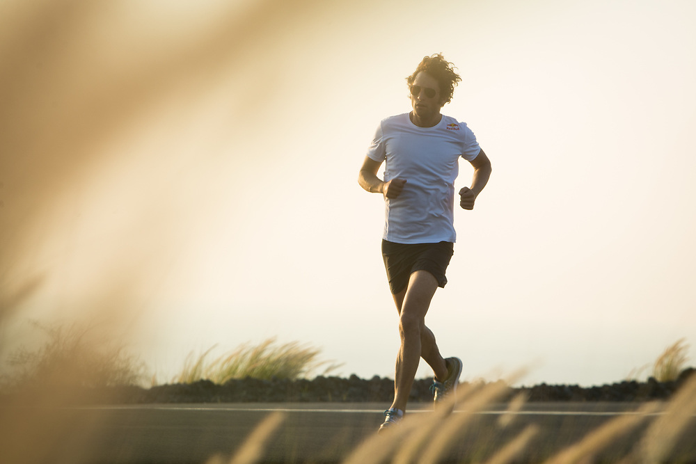 Jesse Thomas getting in a training run near Kona, HI, on 9 October, 2015