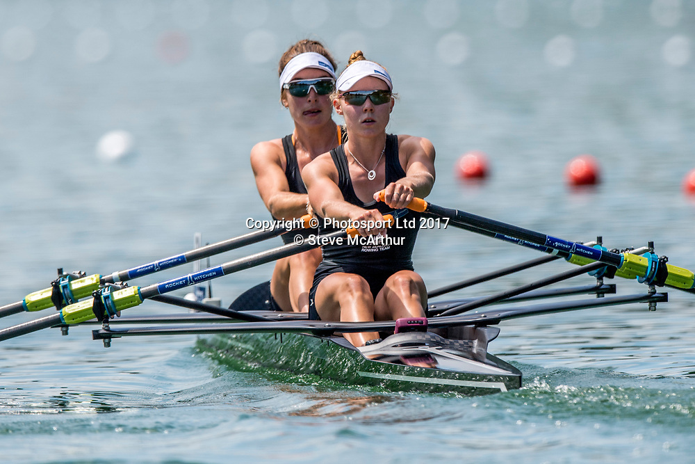 Zoe McBride (Nelson RC) and Jackie Kiddle (Star BC) NZ Lightweight Womens Double Scull racing the qualification heat at WCIII on the Rotsee, Lucerne, Switzerland, Friday 7th July 2017 © Copyright Steve McArthur / www.photosport.nz