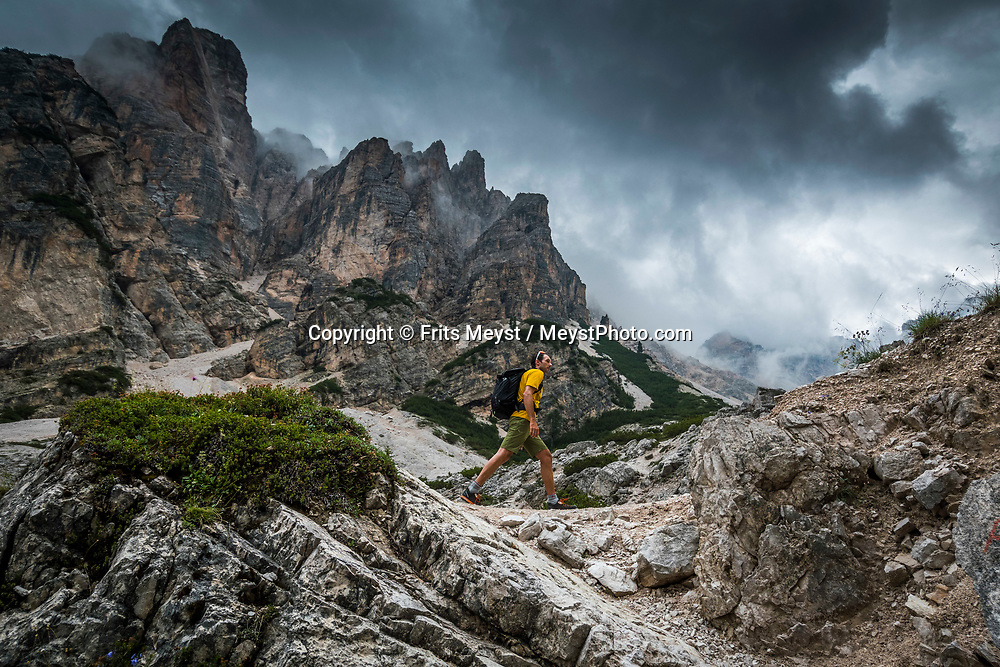 Alta Via No 1, Dolomites, Italy, July 2017. Stage two from the Rifugio Sennes hut to the Rifugio Fanes hut via Fodara Vedla, Rifugio Pederu, and Rifugio Lavarella hut. Hiking from hut to hut over the steep trails of the Italian Dolomites. From South Tyrol to Belluno one passes green alpine pastures surrounded by jagged mountains. Photo by Frits Meyst / MeystPhoto.com