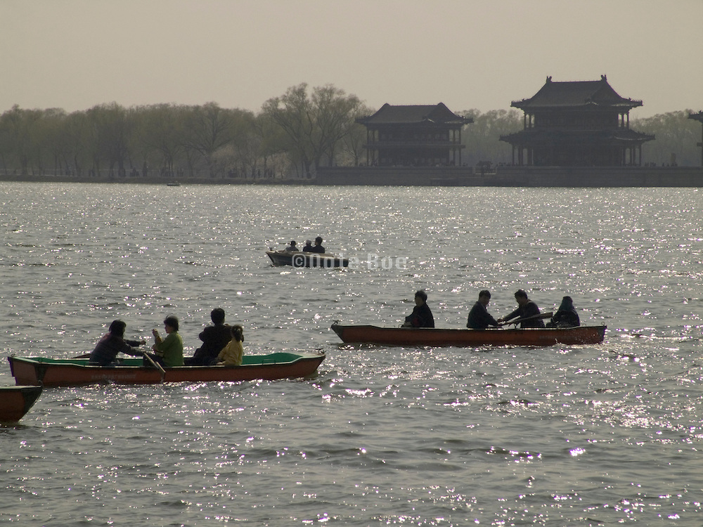 lake with row boats at the Summer Palace in Beijing