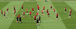 BUDAPEST, HUNGARY - Monday, June 10, 2019: Wales' players during a training session ahead of the UEFA Euro 2020 Qualifying Group E match between Hungary and Wales at the Ferencváros Stadion. (Pic by David Rawcliffe/Propaganda)