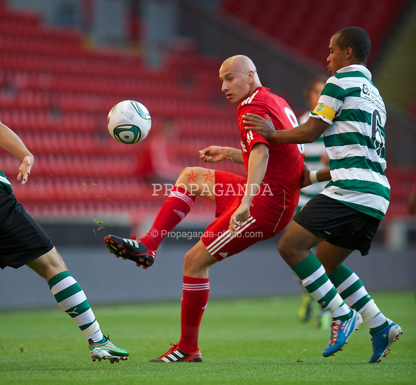 LIVERPOOL, ENGLAND - Wednesday, August 17, 2011: Liverpool's Jonjo Shelvey in action against Sporting Clube de Portugal during the first NextGen Series Group 2 match at Anfield. (Pic by David Rawcliffe/Propaganda)