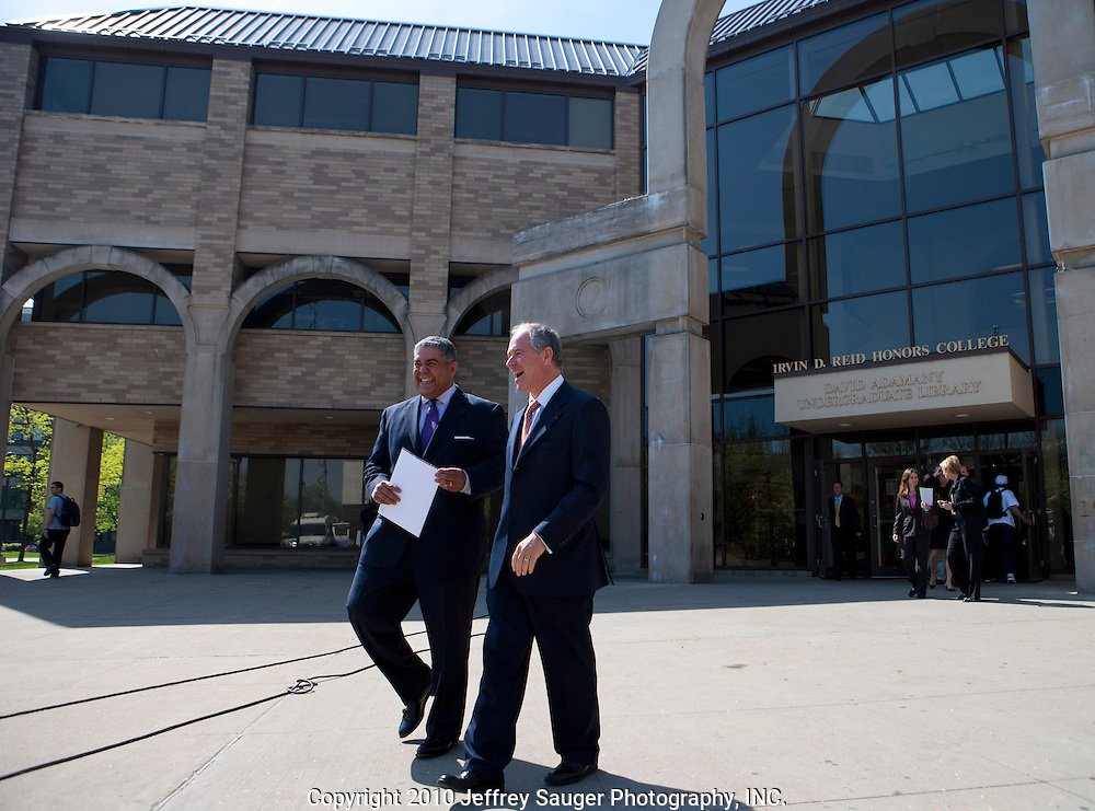 Robert D. Charles, CEO of North Star Advisors, left, gets a few quick words with Stephen A. Schwarzman, Chairman and CEO of The Blackstone Group, right, as they exit the Undergraduate Library at Wayne State University in Detroit, MI, Friday, April 30, 2010. ...The Blackstone Charitable Foundation in collaboration with the New Economy Initiative for Southeast Michigan announced that Wayne State University, Walsh College, and the University of Miami have been selected as partners for The Blackstone Charitable Foundation's grant to help expand The Launch Pad program to two Michigan partners – Walsh College and Wayne State University. (Jeffrey Sauger)