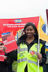 Juanita Charles Regional Secretary for Yorkshire and Humber one of the organisers of the Lobby..Members PCS union hold a Lobby outside Nick Cleggs Constituency Office, to raise awareness of the fact that this month will see the first  increased contributions coming out of their salaries to pay for the changes to public sector pensions. It is the first in a series of hands off our pensions red card protest outside key ministerial constituencies over the Easter recess...http://www.pauldaviddrabble.co.uk.14 April 2012 .Image © Paul David Drabble