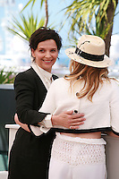 Actresses Juliette Binoche and Chloé Grace Moretz  at the photo call for the film Sils Maria at the 67th Cannes Film Festival, Friday 23rd May 2014, Cannes, France.