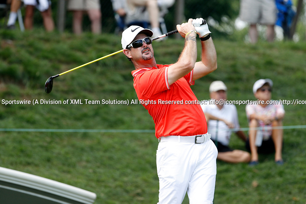 CROMWELL, CT - JUNE 23: Rory Sabbatini hits from the 17th tee during the second round of the Travelers Championship on June 23, 2017, at TPC River Highlands in Cromwell, Connecticut. (Photo by Fred Kfoury III/Icon Sportswire)
