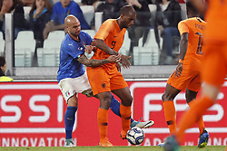 (L-R) Simone Zaza of Italy, Ryan Babel of Holland, Quincy Promes of Holland during the International friendly match between Italy and The Netherlands at Allianz Stadium on June 04, 2018 in Turin, Italy
