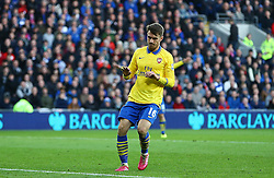 GOAL CELEBRATIONS for Arsenal's Aaron Ramsey who refuses to celebrate his goal - Photo mandatory by-line: Gary Day/JMP - Tel: Mobile: 07966 386802 30/11/2013 - SPORT - Football - Cardiff - Cardiff City Stadium - Cardiff City v Arsenal - Barclays Premier League