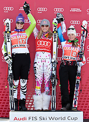 23.01.2011, Tofana, Cortina d Ampezzo, ITA, FIS World Cup Ski Alpin, Lady, Cortina, SuperG, im Bild Podium v.l. Maria Riesch (GER, #17, Platz 2) Lindsey Vonn (USA, #18, Platz 1) und Lara Gut (SUI, #8, Platz 3) // podium v.l. Maria Riesch (GER, place 2), Lindsey  Vonn (USA, place 1) and Lara Gut (SUI, place 3) during FIS Ski Worldcup ladies SuperG at pista Tofana in Cortina d Ampezzo, Italy on 23/1/2011. EXPA Pictures © 2011, PhotoCredit: EXPA/ J. Groder