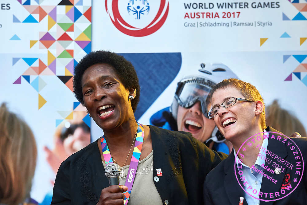 (L) Loretta Claiborne and (R) Johanna Pramstaller while Austria 2017 Reception during third day of the Special Olympics World Games Los Angeles 2015 on July 27, 2015 in Los Angeles, USA.<br /> USA, Los Angeles, July 27, 2015<br /> <br /> Picture also available in RAW (NEF) or TIFF format on special request.<br /> <br /> For editorial use only. Any commercial or promotional use requires permission.<br /> <br /> Adam Nurkiewicz declares that he has no rights to the image of people at the photographs of his authorship.<br /> <br /> Mandatory credit:<br /> Photo by &copy; Adam Nurkiewicz / Mediasport