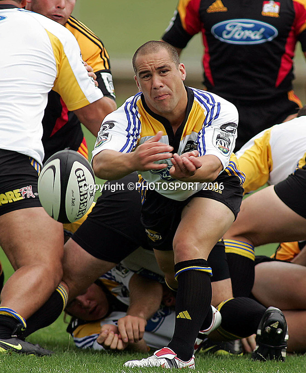 Hurricanes Brendon Haami letting go a pass during the Rebel Sport Super 14 pre-season game between the Chiefs and the Hurricanes at the Rotorua International Stadium on Thursday 02 February 2006. The Chiefs won 27-26 Photo: Brett O'Callaghan/PHOTOSPORT