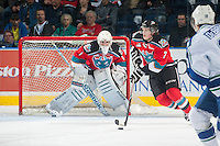 KELOWNA, CANADA - OCTOBER 7: Lucas Johansen #7 of Kelowna Rockets moves the puck up the ice against the Swift Current Broncos on October 7, 2014 at Prospera Place in Kelowna, British Columbia, Canada. Lucas is the younger brother of NHL player Ryan Johansen. (Photo by Marissa Baecker/Getty Images)  *** Local Caption *** Lucas Johansen;