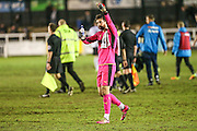 Forest Green Rovers goalkeeper Sam Russell(23) claps the fans at the end of the match during the Vanarama National League match between Bromley FC and Forest Green Rovers at Hayes Lane, Bromley, United Kingdom on 7 January 2017. Photo by Shane Healey.