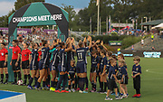 North Carolina Courage take the field before their game with Manchester City during an International Champions Cup women's soccer game, Thurday, Aug. 15, 2019, in Cary, NC. The North Carolina Courage defeated Manchester City Women 2-1.  (Brian Villanueva/Image of Sport)