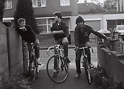 Teenagers on racing bikes, Greenford, London, UK, 1980s.