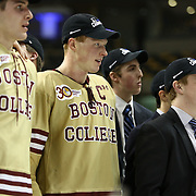 Patrick Brown #23 of the Boston College Eagles and his teammates following The Beanpot Championship Game at TD Garden on February 10, 2014 in Boston, Massachusetts. (Photo by Elan Kawesch)