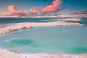 Israel, Dead Sea landscape view Crystallized salt on the shore