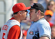 Head coach Mike Anderson #5 of the Nebraska Cornhuskers gets thrown out of the game after arguing a call with home plate Umpire Mark Winters during a game against the Kansas State Wildcats at Tointon Stadium in Manhattan, Kansas.  Kansas State won 13-5.  ..