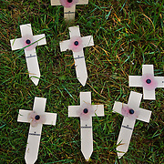 ‪Remembrance cross‬es in a field near the Lochnagar Crater