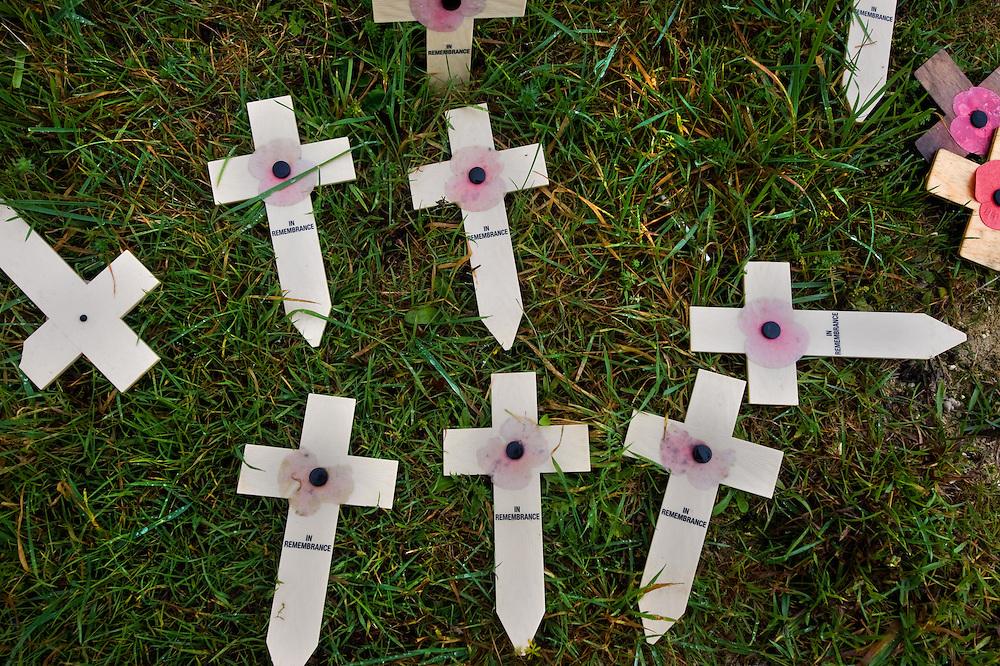 Remembrance crosses in a field near the Lochnagar Crater