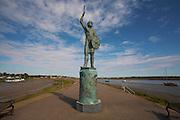 Great Britain England Essex Maldon River Blackwater Statue to Byrhtnoth the Barldorman of Essex leader at the battle of Maldon AD 991 against Viking Invasion