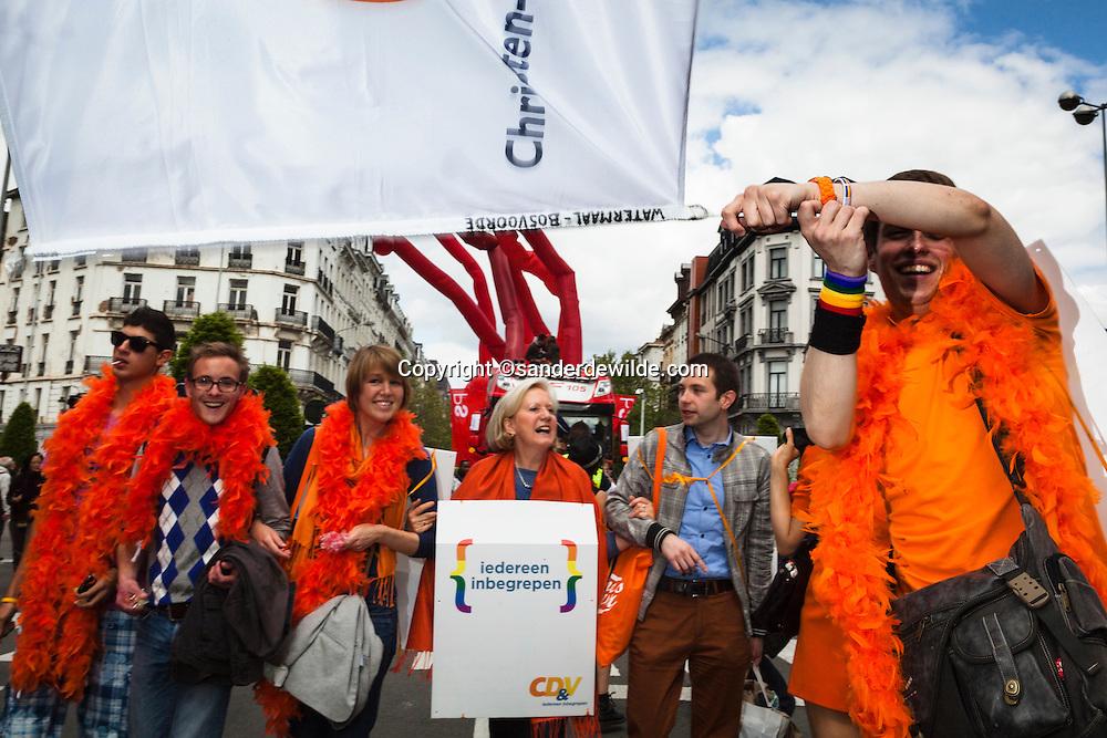 Participants of a gay pride parade in Brussels.CD&V Brigitte Grouwels loopt mee in de gay pride