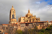 Looking up at the  historic Cathedral in Segovia, Spain on a cloudy spring day.