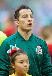 MOSCOW, RUSSIA - Sunday, June 17, 2018: Mexico's captain Andres Guardado sings the national anthem before the FIFA World Cup Russia 2018 Group F match between Germany and Mexico at the Luzhniki Stadium. (Pic by David Rawcliffe/Propaganda)