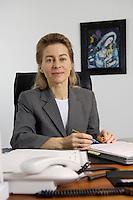 12 DEC 2005, BERLIN/GERMANY:<br /> Ursula von der Leyen, CDU, Bundesfamilienministerin, an ihrem Schreibtisch, in ihrem Buero, Bundesministerium fuer Familie, Senioren, Frauen, und Jugend<br /> Ursula von der Leyen, Federal Minister for family, Seniors, Women and Youth, in her office<br /> IMAGE: 20051212-01-005<br /> KEYWORDS: Büro