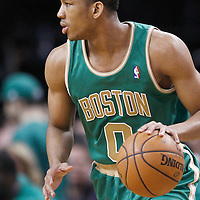 09 March 2012: Boston Celtics shooting guard Avery Bradley (0) is seen during the Boston Celtics 104-86 victory over the Portland Trail Blazers at the TD Banknorth Garden, Boston, Massachusetts, USA.